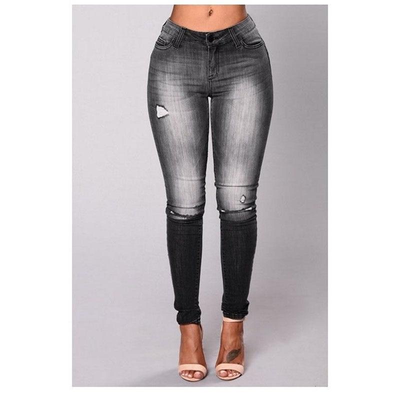 New fashion Women ladies casual high waist pencil Jeans holes ripped distressed tassels Denim Skinny long pants Trousers new fashion women casual high waisted casual holes skinny jeans