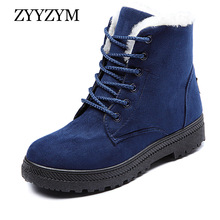 ZYYZYM Women Boots 2019 Lace-Up Fashion Plush Warm Heels Ankle Snow Boots For Women Winter Shoes Mujer Botas Zapatos De Mujer 2016 real image camouflage fashion boots cheap custom made high thin heels buckle strap zapatos mujer botas mujer ankle boots