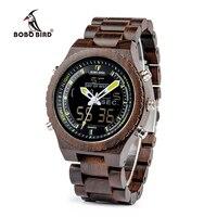 BOBO BIRD LED Digital Wooden Watch Luxury Design relogio masculino Men Dual Display Quartz Watches Drop Shipping P02