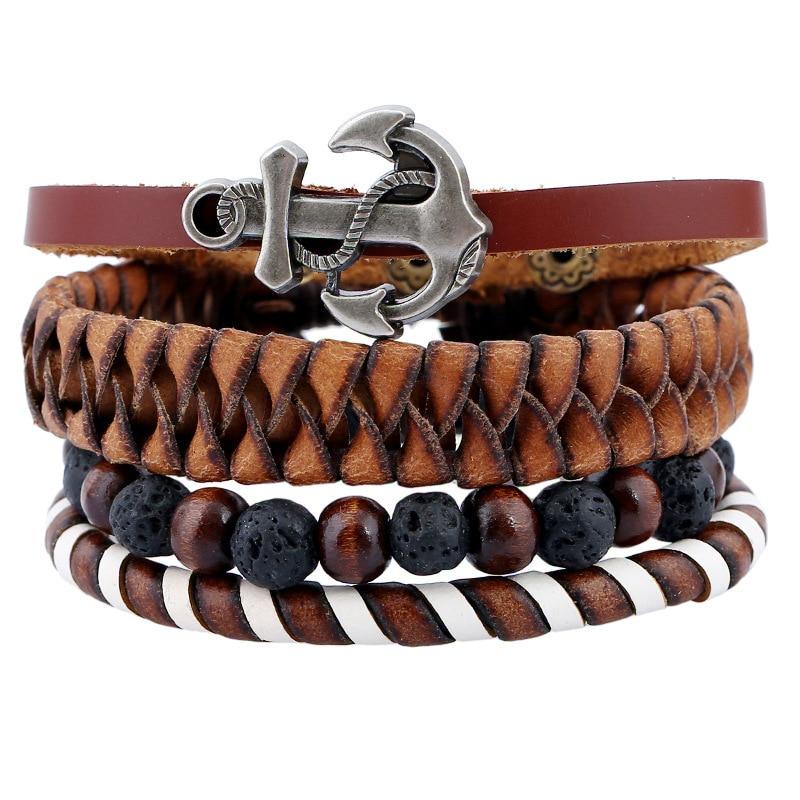 4pcs 1 Set Punk Genuine Wrap Leather Bracelets Men For Women Charm Anchor Wooden Beads Bracelets