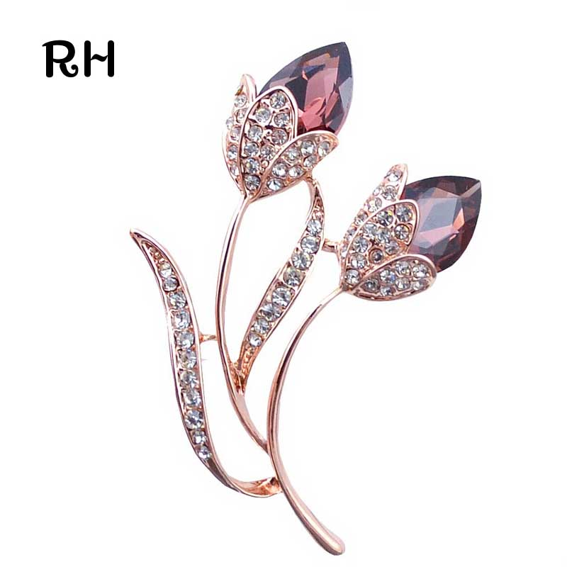 RHao Romantic Purple Crystal Rhinestone Flower Brooches for women and men wedding jewelry Gift Double Flower Brooch broches pins