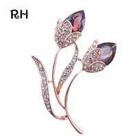RHao Romantico Cristallo Viola Del Fiore Del Rhinestone Spille per le donne e gli uomini gioielli Regalo di nozze Doppia Spilla Fiore spilla pins
