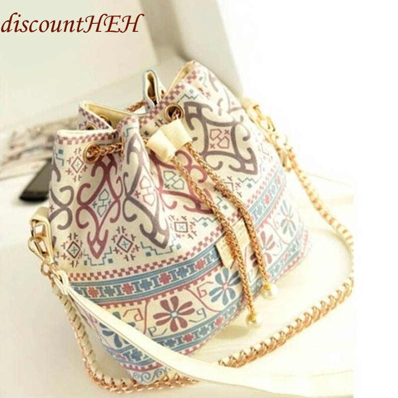 Factory National Style Canvas Drawstring Bucket Bag Chains Shoulder Handbags Vintage Messenger Bags