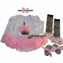 Spring Autumn BEBE Newborns Clothes Set for Baby Girl First Birthday Party Costumes Cupcake Leopard Tutu Dresses 3 6 9 12 18 24M(China)