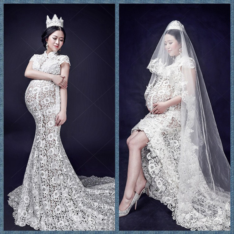 Short-sleeved White Lace Maternity Dresses Pregnant Women Photography Props Fashion Pregnancy Comfortable Lace Dress Clothes