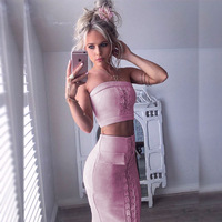 Suede Leather Summer Dress Women Two Piece Outfits Bodycon Party Lace Up Dresses Sexy Mini Pink