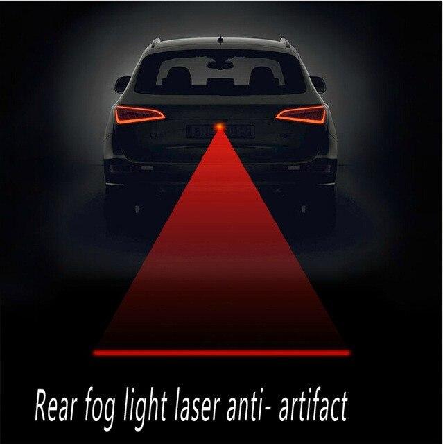 Car Rear Laser Tail Fog Lights Brake Parking Warning Lamp Anti Collision
