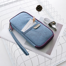 Multifunction Canvas Fabric Pencil Bag Simple Zipper Pencil Case Big Capacity Pencil Pouch With Card & Passport Pocket