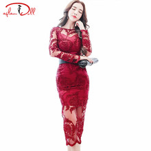 2017 Autumn Embroidery Pencil Lace Mesh Dress Backless Women Full Sleeve Sexy Slim Bodycon Long Party Dresses Wine Red Cloth