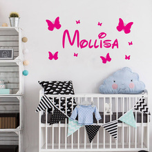 Name Wall Decal Butterflies Vinyl Sticker For Kids Room Decoration Personalised Baby Nursery Bedroom Decor ZX562