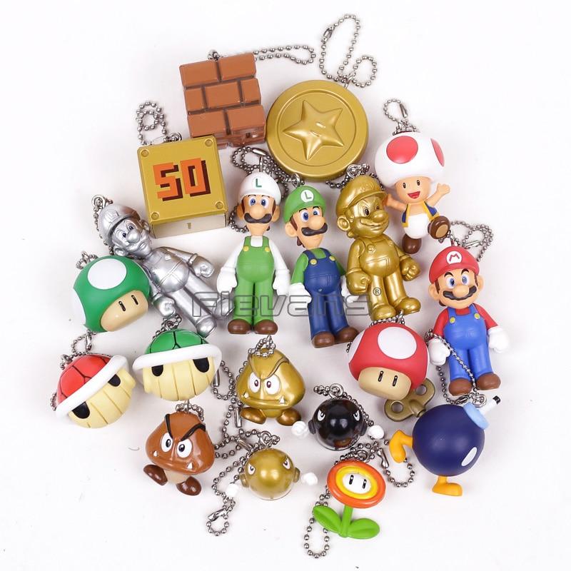 Super Mario Bros Mario/Luigi/Goomba/Mushroom/ PVC Figure Toys Mini Pendants Dolls 19pcs/set цена 2017