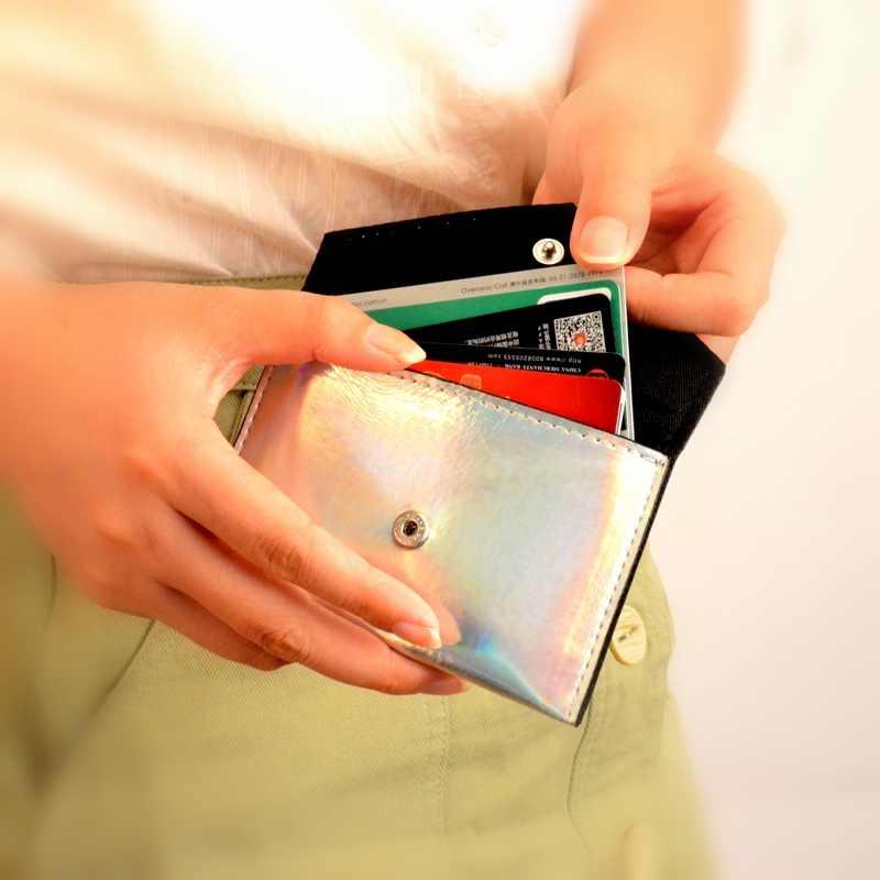 BONAMIE Laser Shining Portemonnee Voor Meisjes Vrouwen Eenvoudige Kaart Portemonnee Kleine Credit Kaarthouder Leer Vrouwelijke Visitekaartje Zakken