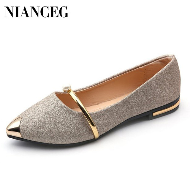 Bling Style Women Flats 2019 Spring Summer Flat Shoes Woman Pointed Toe Slip On Fashion Loafers Female Casual Lazy Shoe Footwear