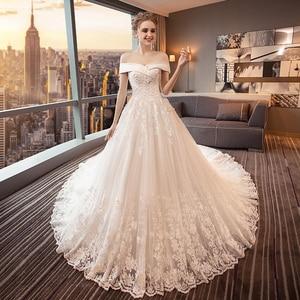 Image 2 - Fansmile Luxury Long Train Vestido De Noiva Lace Wedding Dress 2020 Customized Plus Size Wedding Gowns Bridal Dress FSM 491T