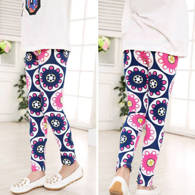 10 Styles Spring Summer Girls Leggings Casual Vintage Flower Kids Legging Elastic Waist Children\'s Girl\'s Pants 2-14 Years Top ethnic style elastic waist tribal print girl s pants