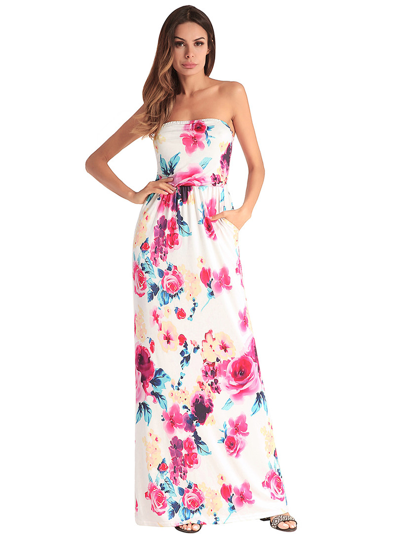 733ffa47bf7 Womens Strapless Floral Maxi Dress With Pockets