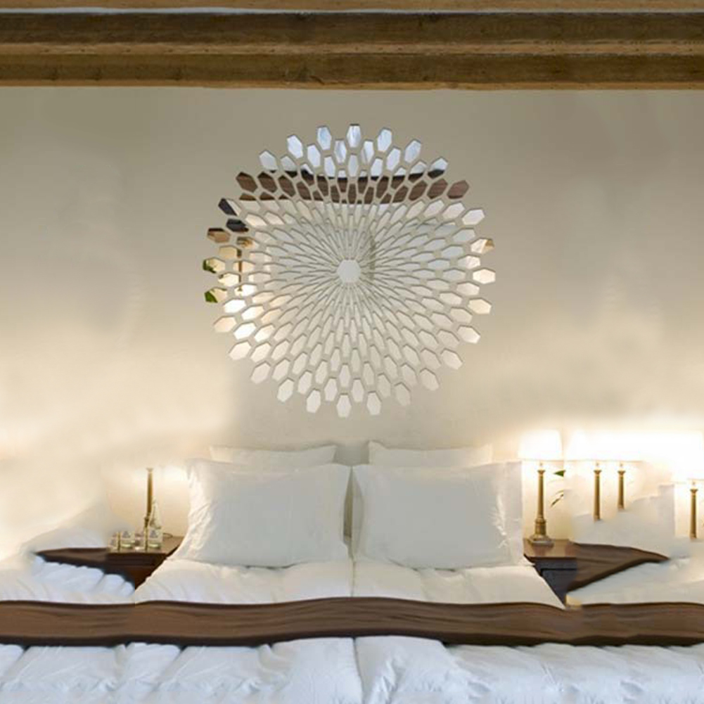 2017 Fashion 56 x 56cm Silver Bling Bling Acrylic Sunflower Round Mural Mirror Effect Wall Sticker Sofa Room Home Decal DIY