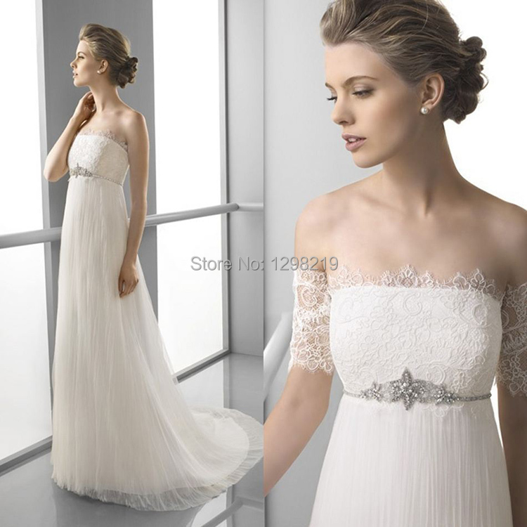 2014 sexy off the shoulder white soft tulle empire waist for White off the shoulder wedding dress