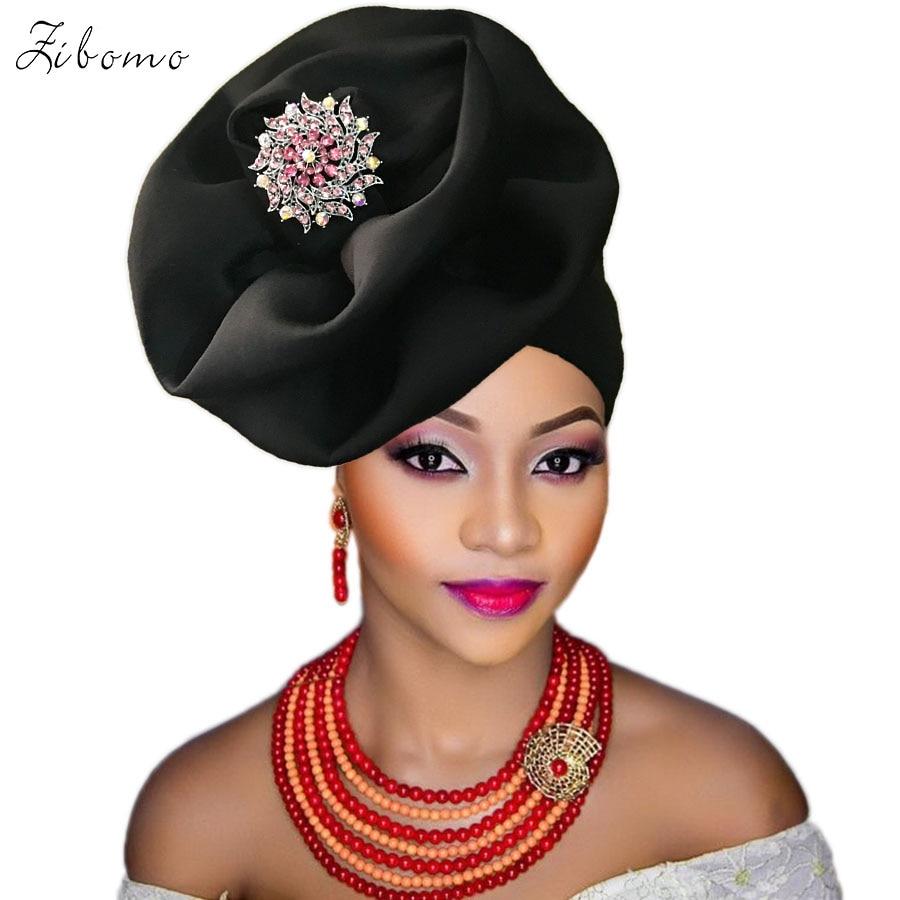 Turban headtie african turban cap aso oke gele ready to wear auto hele african lace auto gele aso ebi headtie 2018 new (11)