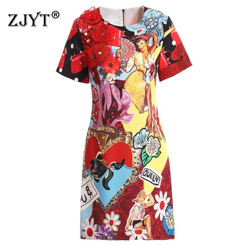 Брендовое дизайнерское подиумное платье 2019 летнее Новое модное женское Повседневное платье с коротким рукавом и цветочной вышивкой с муль