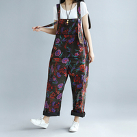 Womens Denim Straight Suspenders Jumpsuits Rompers Overalls Body Print Floral Loose Big Size Vintage Casual Fashion