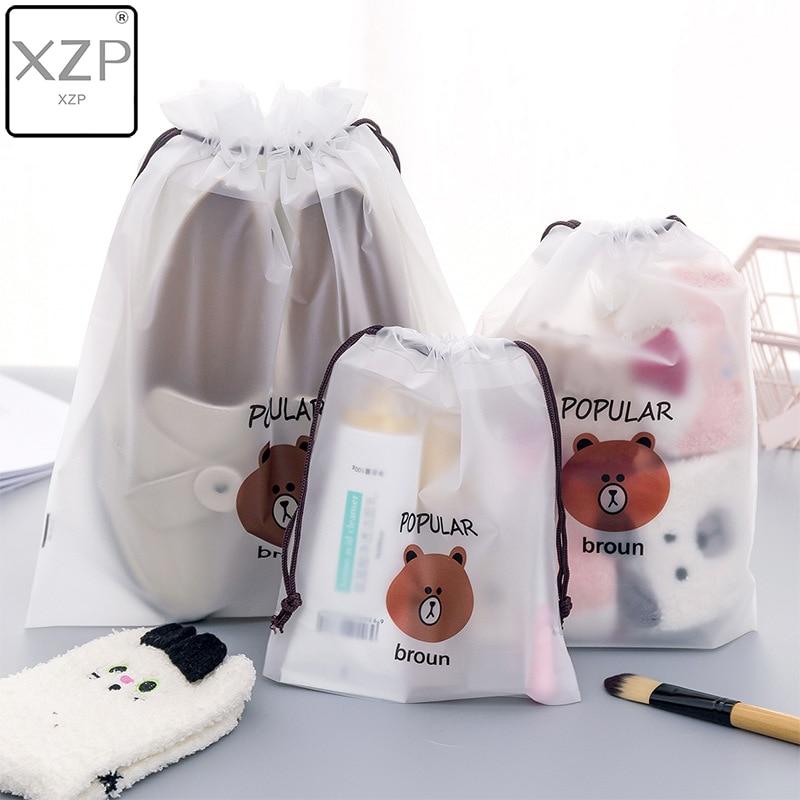 XZP Brown Bear Transparent Cosmetic Bag Travel Makeup Case Women Make Up Bath Organizer Storage Pouch Toiletry Wash Beaut Kit