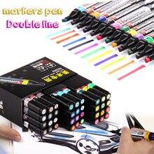 Маркер ручка 12 цветов поп-плакаты маркеры для ткани двухконцевые цвета Шарпи маркеры для рисования манга товары для рукоделия