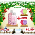 Kustie Christmas Gift Set 100ml Shower Gel and 50 ml Cherry Blossom Lotion Pack with 4 PCS Free Gifts