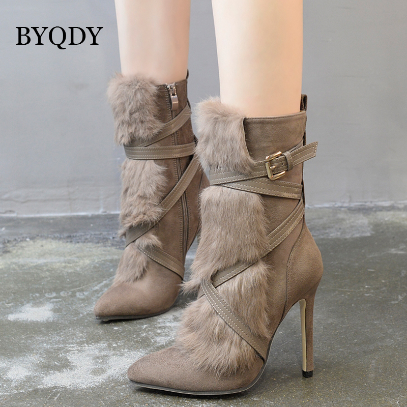 BYQDY 2018 Spring Female Suede Ankle Boots With Fur Autumn Ladies Casual Booties Shoes High Heels Pointed Toe Promotion