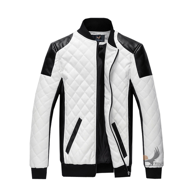 Stand Up Collar Fashion Leather Jacket Bomber Men Coats Veste Masculina Large Plus Size Pu Full Pockets Zipper Solid White A5