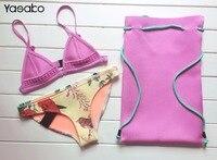 Free Shipping 2016 New Style Floral Neoprene Bikini Women Summer Neoprene Bathing Suits
