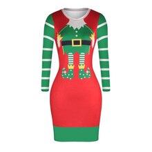 Khastanido 2017 Рождество с длинными рукавами и круглым вырезом Bodycon бинты платье Повседневное трикотажные красные элегантные женские Платья для женщин Vestidos панк
