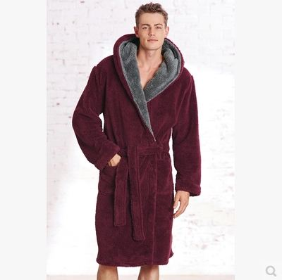 552739e0e0 men s winter hood robe thickened velveteen bathrobe luxury Home Furnishing  ultra soft warm pajamas-in Robes from Underwear   Sleepwears on  Aliexpress.com ...