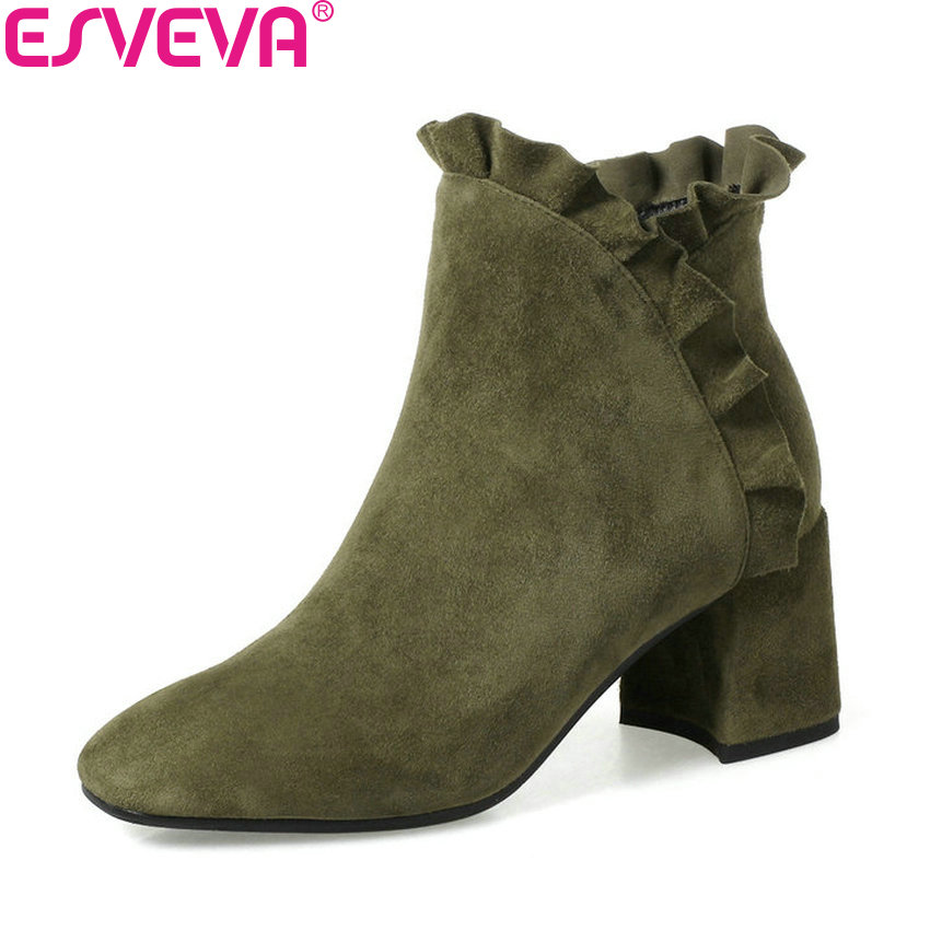 ESVEVA 2018 Women Boots Black Square High Heels Ankle Boots Chunky Comfortable Boots Zippers Square Toe Ladies Boots Size 34-42 esveva 2018 women boots sweet style zippers square high heels pointed toe ankle boots chunky short plush ladies shoes size 34 39