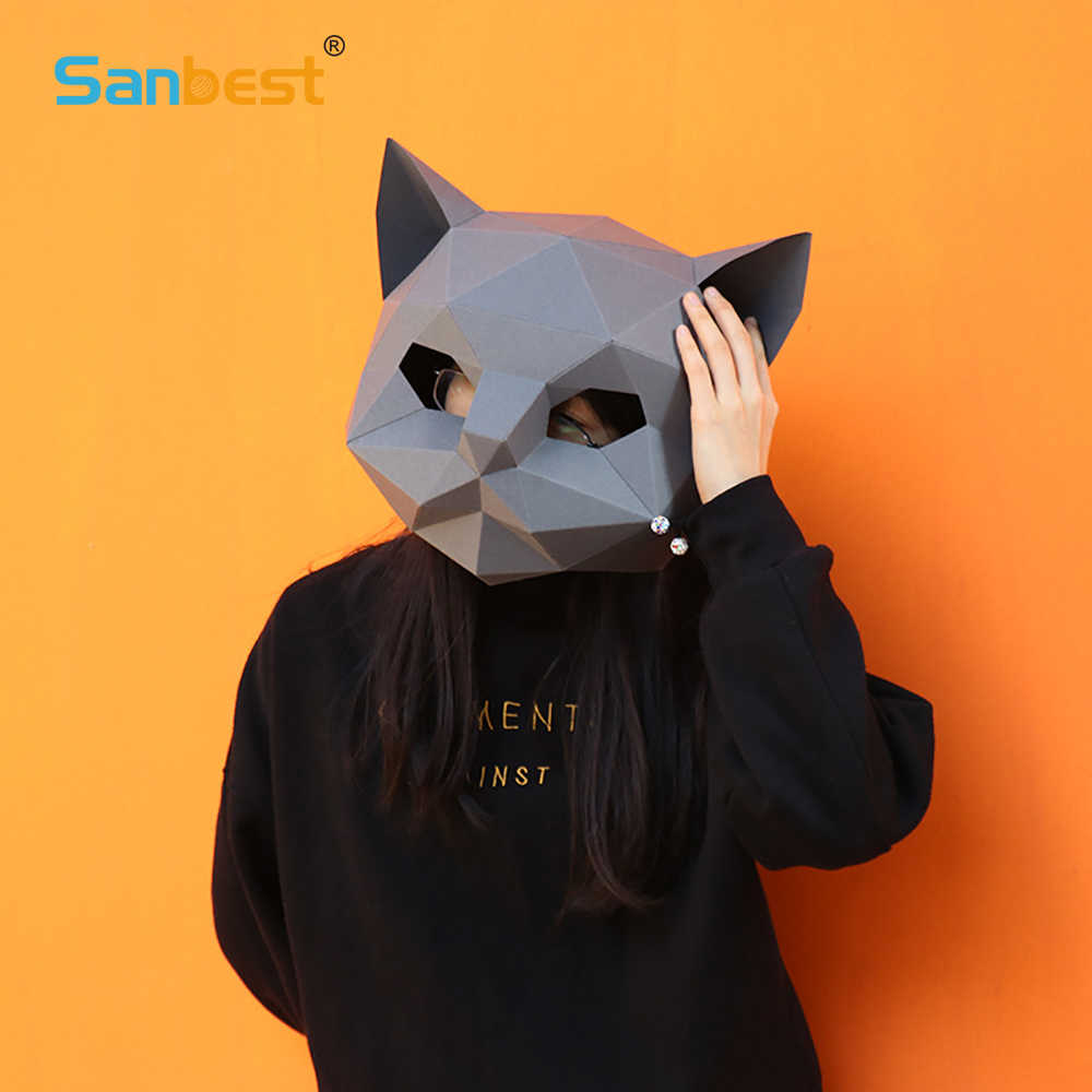 Sanbest DIY Cat Paper Helmet Masquerade Mask Low Poly Paper Crafts Adult  Cosplay Party Friend Animal Solid 3D Model Puzzle Toy