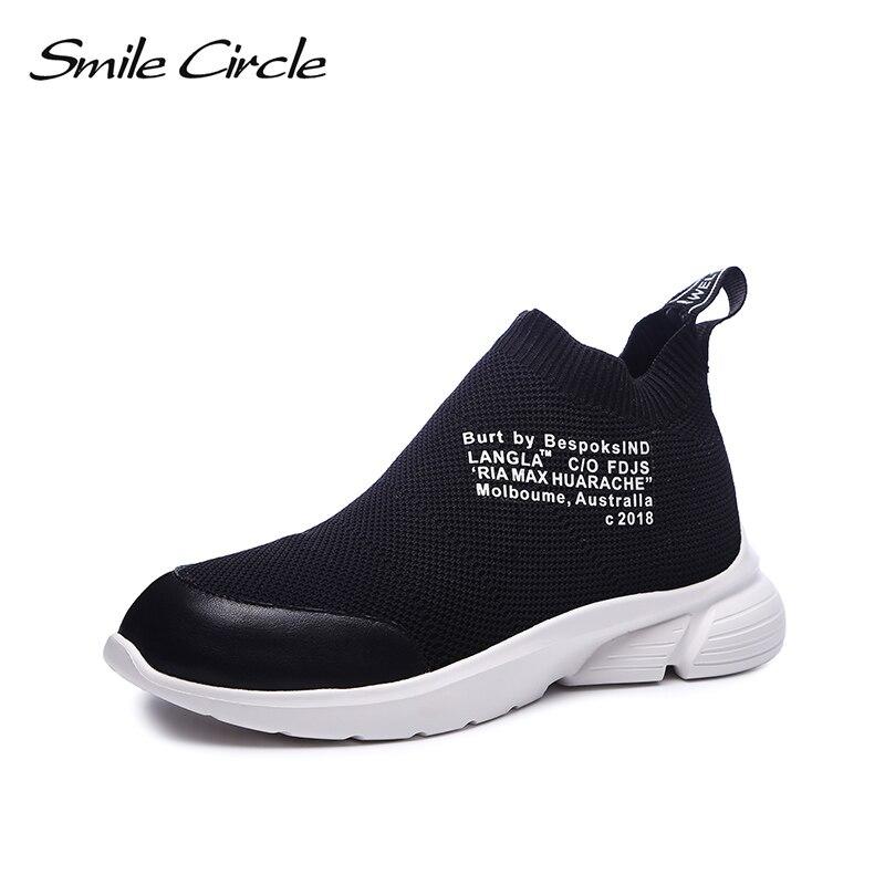 Haute Chaussures Pour Léger Occasionnels forme blanc Chaussette Knit Slip Cercle Respirant Sneakers Femmes Sourire Noir sur Plate top Automne xwZaYq7v
