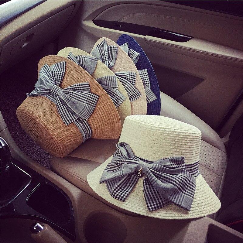 10pcs lot 01902 pei25204 school style plaid bowknot leisure lady straw sun hat women cap wholesale