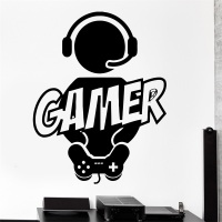 Wall Sticker Gaming Gamer Joystick Video Computer Game Vinyl Decal