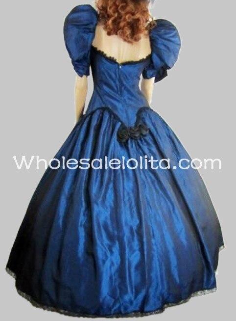 19-й век Викторианский Пышный рукав готический синий платье бальное платье