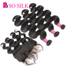 Så Silk Human Hair Brazilian Body Wave 3 Bundlar med Frontal Closure 13 * 4 Ear To Ear Ear Front Closure med Bundes Non Remy