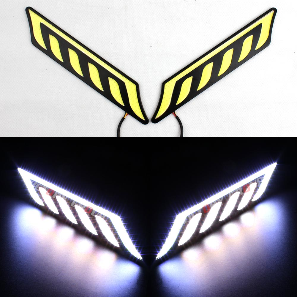 12V Waterproof  Car COB LED Daytime Running Lights White DRL Fog Lights with Turn Signal light DRL Kit-26 flexible bandable straight line cob drl daytime running lights dc12v 16w high power white e4 waterproof car fog lights