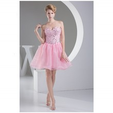 In Stock Cocktail Dresses Sweetheart Sleeveless Mini Beaded Picture Color Zipper Organza Cocktail Gowns New Arrival