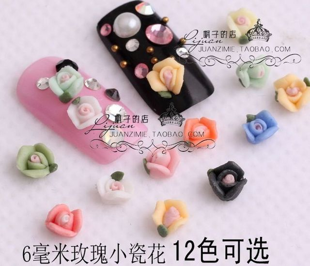 10 6 mm small porcelain flowers rose ceramic flower nail art applique false nail chm60 -