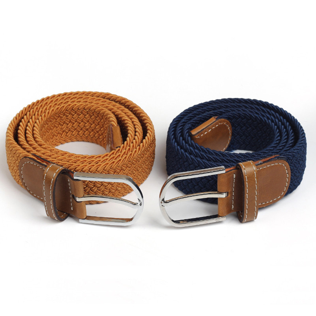 Unisex Elastic Knitted Canvas Belts Decoration Alloy Buckle Woven Stretchable Nylon Strap