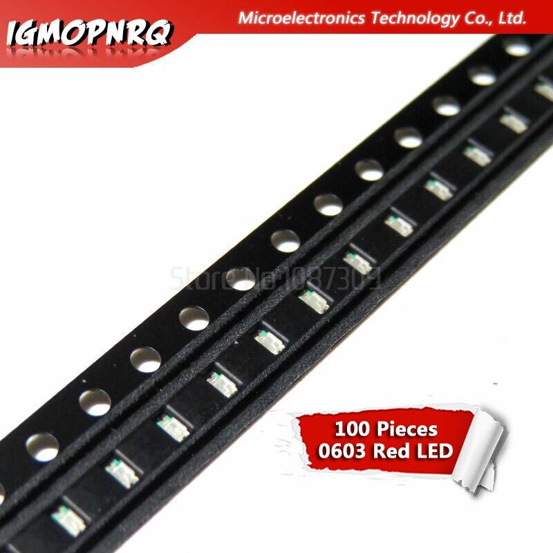 100pcs Red 0603 SMD LED diodes light