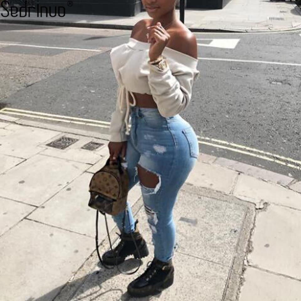 Sedrinuo Casual off the shoulder tops for women long sleeve crop top t shirt women clothing white t shirt fashion crop top 2018