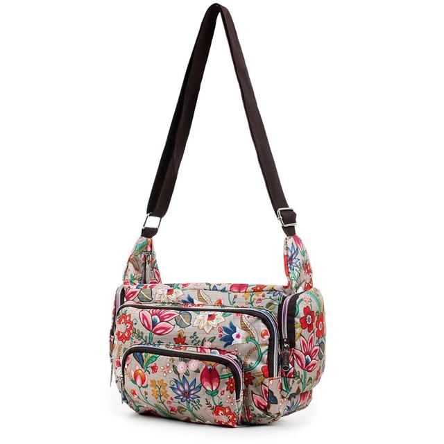 Women Messenger Bags Print Floral Cross Body Shoulder Canvas Hobo Bag Nylon Oxford Fabric Women's Handbag