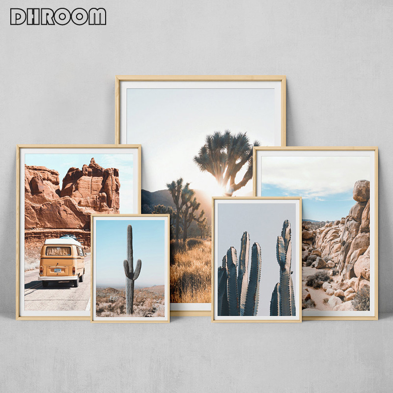 Desert Cactus Canvas Poster Nordic Style Landscape Nature Joshua Tree Wall Art Print Painting Decorative Picture Home Decor