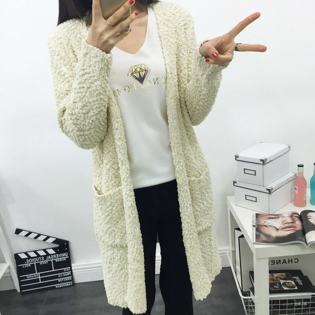 Knee length Solid White Pockets Women's Hand Knitted Sweaters ...