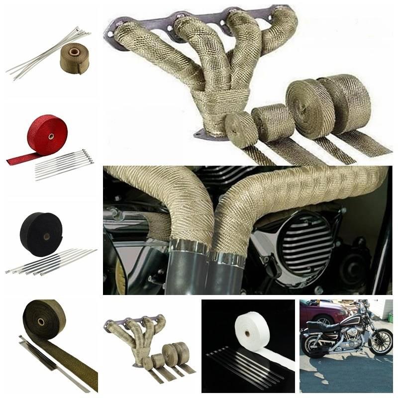 5 м выхлопной трубы теплозащитный экран клейкие ленты для автомобиля изоляции титан золото